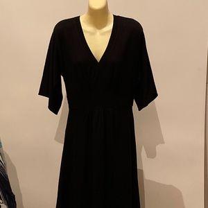 BLACK KNIT WOOL BLEND SWEATER DRESS